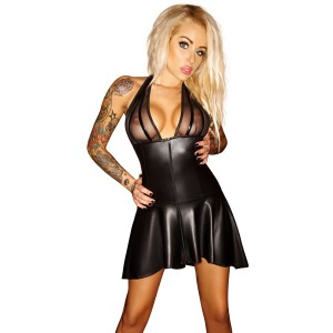 Robe à volants wetlook - Lingerie SM Malins-Plaisirs